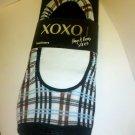 XOXO Legwear Hug & Kisses Women's Plaid Wide Cut Footliners Size 9-11 Black