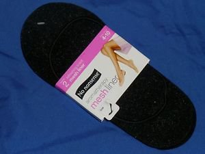 NO NONSENSE Aromatherapy Mesh Low Liner Footliners Size 4-10 Sparkle Black