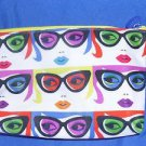 IPSY Cosmetic Small Make Up  Bag New All Eyes On You Blue White Retro