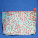 IPSY Cosmetic Small Make Up  Bag New Hello Spring Swirly Flowers Blue Orange