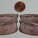 Etched COPPER True To Life Filigree Dragonfly or Fairy Wings Life size 2-1/2&quot;