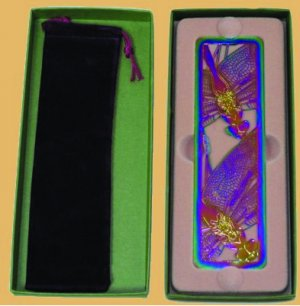Iridescent Etched Metal Dragonfly Filigree Bookmark bx