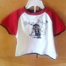 BABY WHITE PIRATE SHIRT WITH RED SLEEVES BY PUMPKIN PATCH SZ 24M