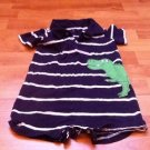 BABY ONSIE STRIPES BLUE WHITE WITH CROCODILE  BY CARTERS SZ 24 M