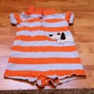 BABY ONSIE STRIPES ORANGE GRAY WITH DOG BY CARTERS SZ 24 M