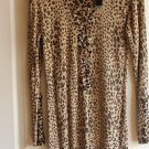 WOMAN NEW BROWN/BEIGE STRETCH LONG SLEEVES ANIMAL PRINT TOP BY BELLDINI SZ L