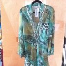 NEW GREEN ANIMAL PRINT BEADED TOP/DRESS SZ XL