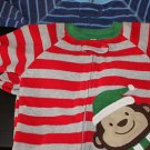 baby warm cozy sleepwear/playwear blue stripes/christmas monkey (2) size 6 m