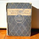 A Webster&#39;s Elementary Dictionary for Boys and Girls Children Vintage Book 1935