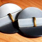 Pair of large celluloid buttons vintage unique design metal