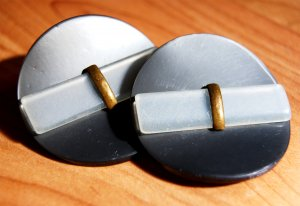 Pair of large celluloid buttons vintage unique design metal
