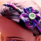 Handmade Crocheted Button Flower Head Wrap Band or Bracelet