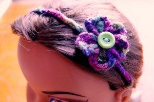 Handmade Crocheted Button Flower Head Wrap Band or Bracelet