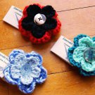 Handmade Crocheted Flower Petal Pin Brooch Hair Clip Accessory