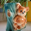 Vintage Royal Copley Teddy Bear on a Tree Stump Vase Planter Glossy Turquoise Teal