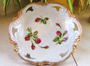 Vintage China Round Serving Candy Dish Bowl Moss Rose Norcrest Japan MR-1 Iridescent Gold
