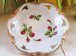 Vintage China Round Serving Candy Dish Bowl Moss Rose Norcrest Japan MR-1 Iridescent Gold