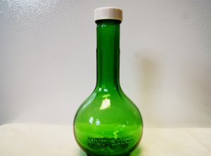 Collectible Royal Mint Sauce Emerald Green Glass Bottle