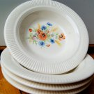 Set of 4 Small Dominion Salem China Floral Dessert Ribbed Bowls Dishes