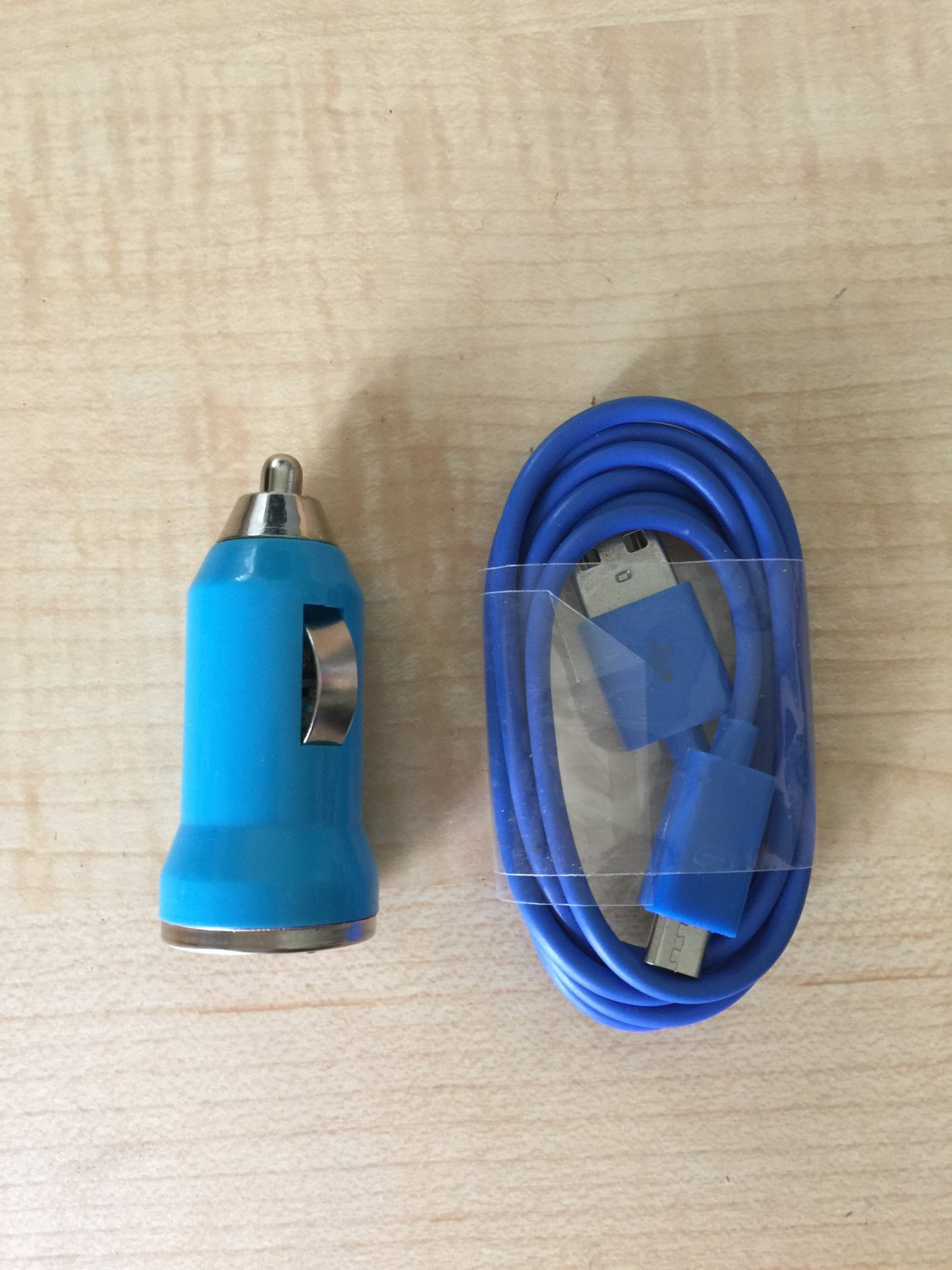 1 USB 6FT Sync Cable - 1 Car Charger for Android Cell Phone Blue Color