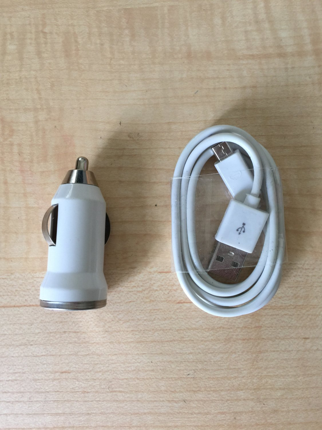 1 USB 6FT Sync Cable - 1 Car Charger for Android Cell Phone White Color
