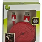Journeys Edge Micro USB To USB 2.0 8Ft Data Cable In Red Color
