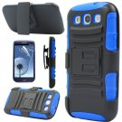 Blue Rugged Hybrid Case Cover + Belt Clip Holster For Samsung Galaxy S3 S III i9300
