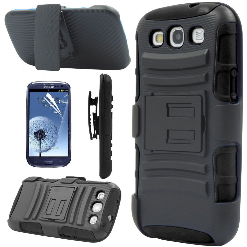 Black Rugged Hybrid Case Cover + Belt Clip Holster For Samsung Galaxy S3 S III i9300