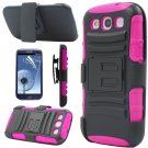 Pink Rugged Hybrid Case Cover + Belt Clip Holster For Samsung Galaxy S3 S III i9300