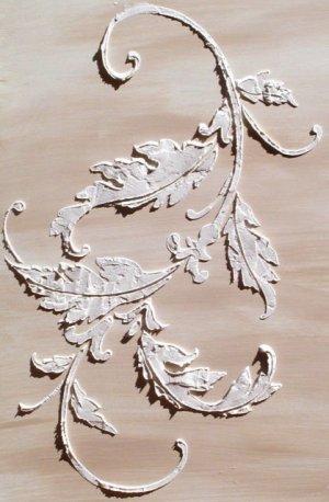 Raised Plaster Acanthus Flourish Wall Stencil, Painting Stencil