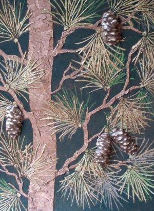 Raised Plaster Life-sized Pine Tree Wall Stencil, Painting Stencil