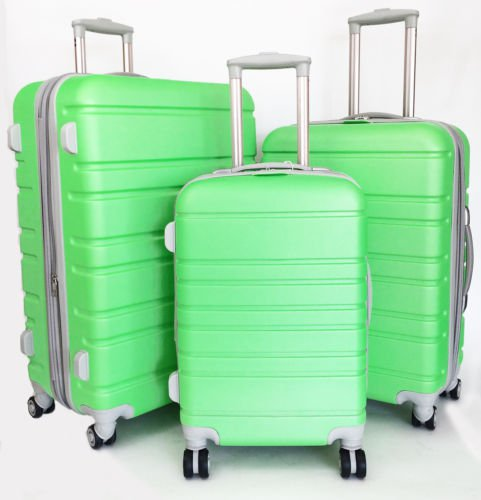 3 Pc Luggage Set Hardside Rolling 4 Wheel Spinner Upright CarryOn Travel Lime
