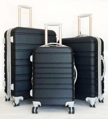 3Pc Luggage Set Hardside Rolling 4 Wheel Spinner Upright CarryOn Travel Black