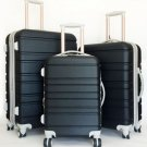 3Pc Luggage Set Hardside Rolling 4 Wheel Spinner Upright CarryOn Travel Black