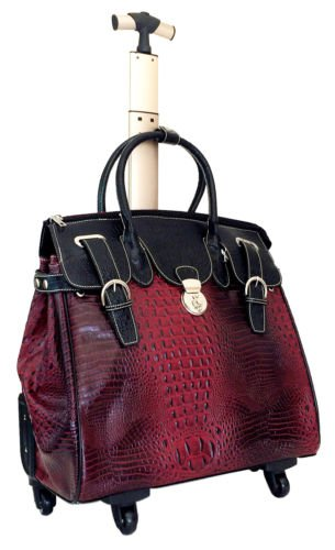 """21""""Computer/Laptop Bag Tote Duffel Carry Rolling 4Wheel Spinner Luggage Croc Red"""