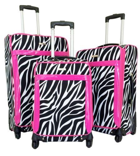 3Pc Luggage Set Travel Bag Rolling 4Wheel Spinner CarryOn Expandable Zebra Pink