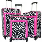 3Pc Luggage Set Travel Bag Rolling 4Wheel Spinner CarryOn Expandable Zebra Pink