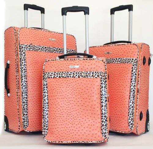 3Pc Luggage Set Travel Bag Rolling Lrg Wheel CarryOn Expandable Ostrich Orange