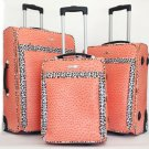 3Pc Luggage Set Travel Bag Rolling Lrg Wheel CarryOn Expandable Ostrich Orange