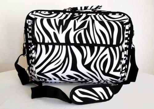 "17"" Computer/Laptop Ipad Briefcase Bag Padded Travel Office CarryOn Zebra Black"