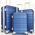 3Pc Luggage Set Hardside Rolling 4Wheel Spinner Upright CarryOn Travel Blue Navy