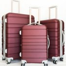 3Pc Luggage Set Hard Rolling 4Wheels Spinner Upright CarryOn ABS Travel Burgundy