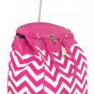 "19"" Computer/Laptop Bag Tote Duffel Rolling Wheel Case Purse Tablet Chevron Pink"