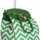 "19""Computer/Laptop Bag Tote Duffel Rolling Wheel Case Purse Tablet Chevron Green"