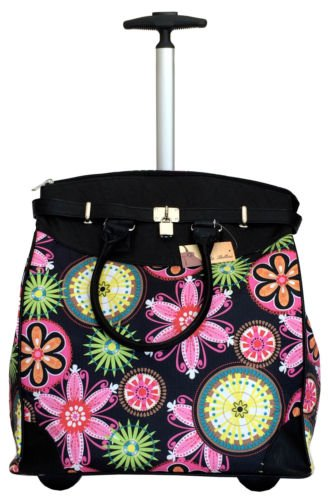 "19"" Computer/Laptop Bag Tote Duffel Rolling Wheel Case Purse Tablet Flower Pink"