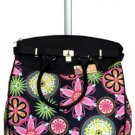 "19"" Computer/Laptop Bag Tote Duffel Rolling Wheel Case Purse Tablet Flower Pink"