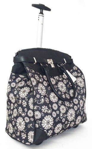 "19"" Computer/Laptop Bag Tote Duffel Rolling Wheel Case Purse Tablet Flower Black"