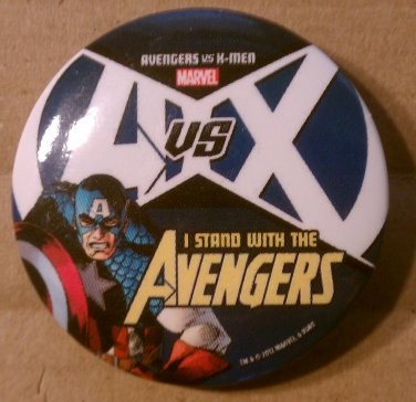 """Avengers vs X-Men (AvsX) """"I Stand With The Avengers"""" Button/Pin"""