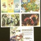 Nintendo 3DS Pokemon X & Y Large Promo Art / Data Cards Set of 4 + Flyer