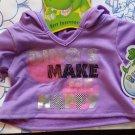 Build a Bear Dino's Make Me Happy Purple Hoodie NWT & Hanger